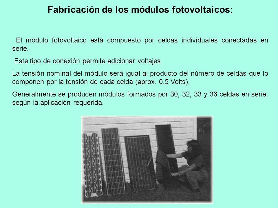 Fabricación de los módulos fotovoltaicos: