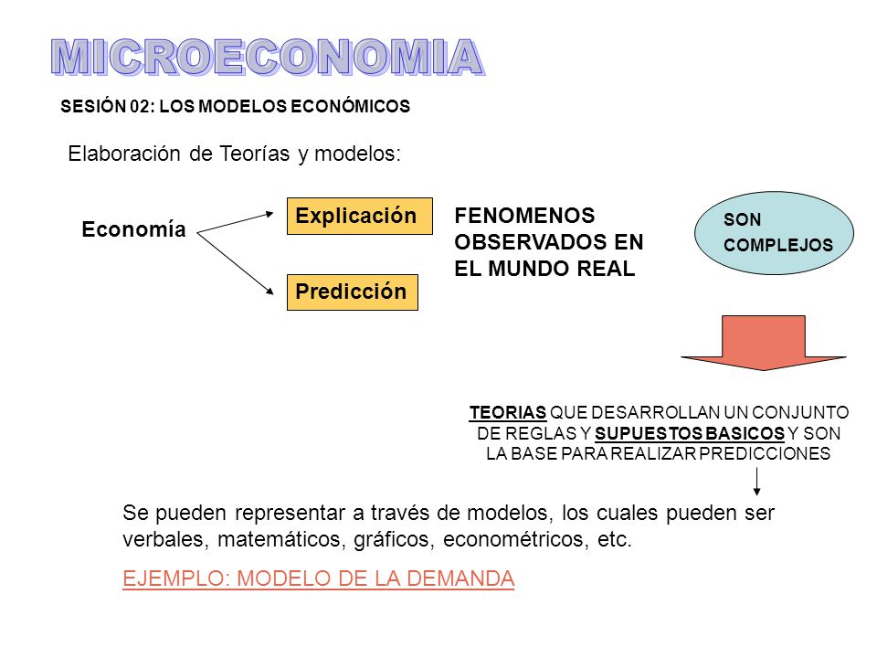 MICROECONOMIA Elaboración de Teorías y modelos: Explicación