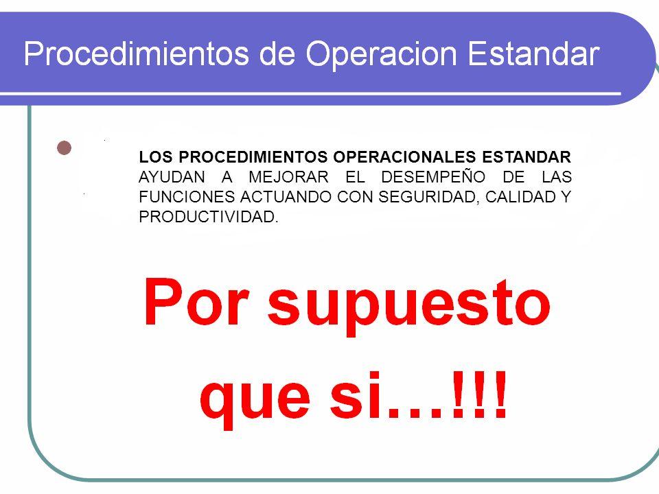 LOS PROCEDIMIENTOS OPERACIONALES ESTANDAR AYUDAN A MEJORAR EL DESEMPEÑO DE LAS FUNCIONES ACTUANDO CON SEGURIDAD, CALIDAD Y PRODUCTIVIDAD.