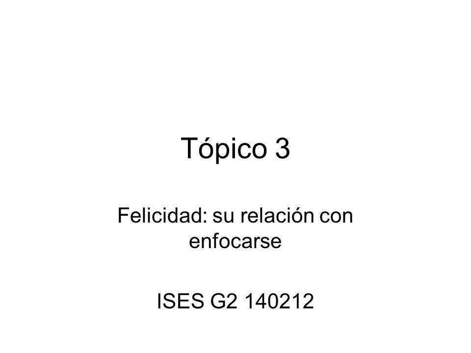 Felicidad: su relación con enfocarse ISES G2 140212