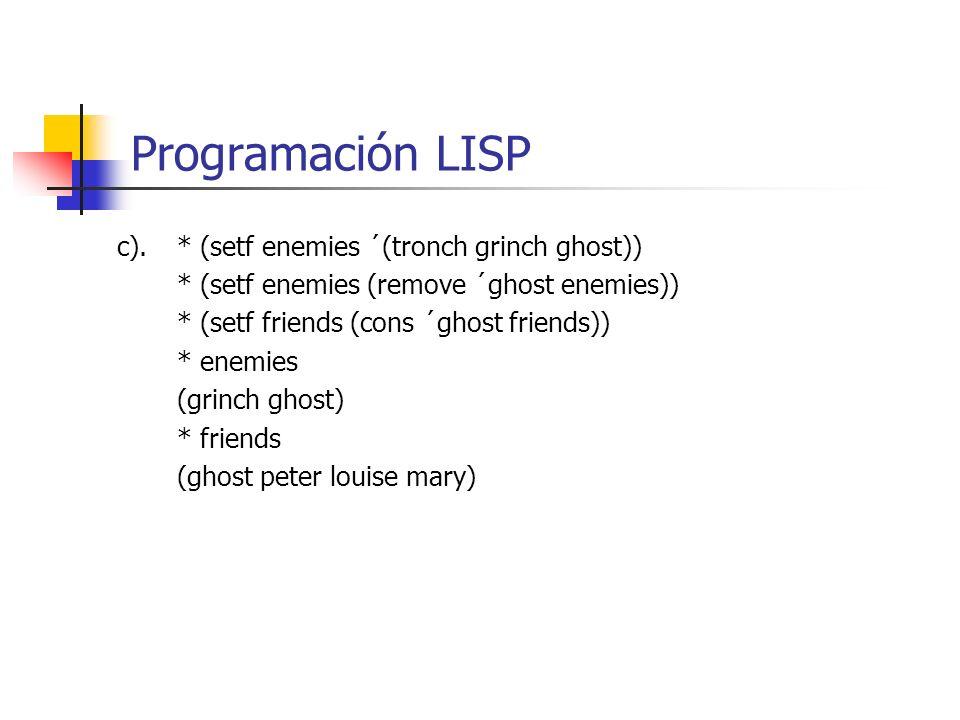 Programación LISP c). * (setf enemies ´(tronch grinch ghost))