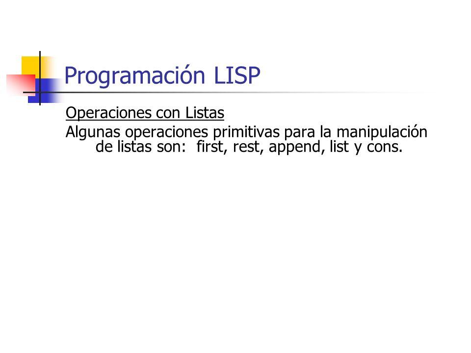 Programación LISP Operaciones con Listas