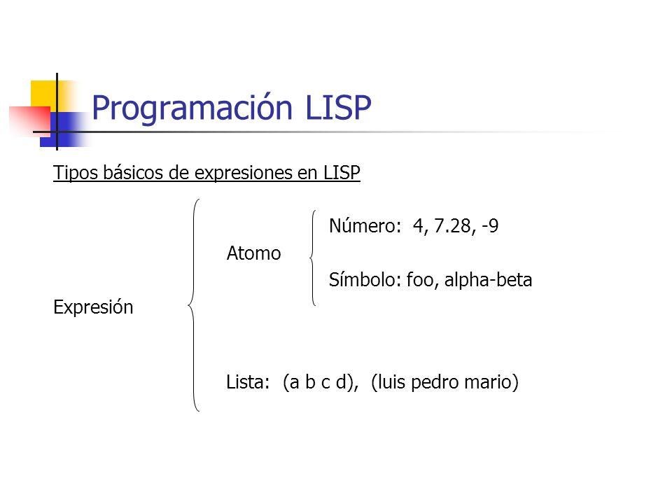 Programación LISP Tipos básicos de expresiones en LISP