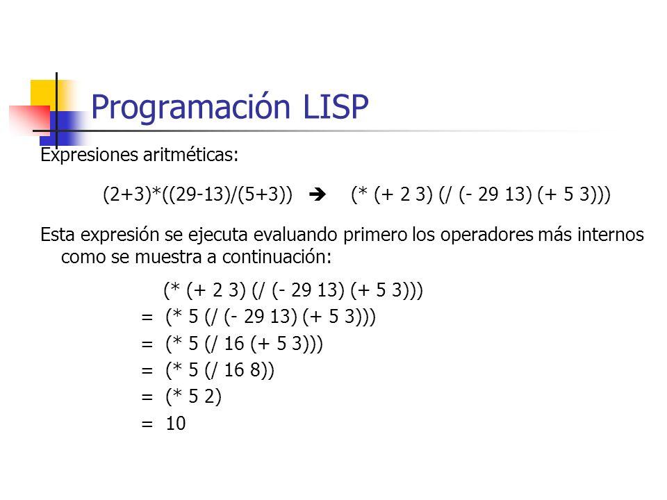 Programación LISP Expresiones aritméticas: