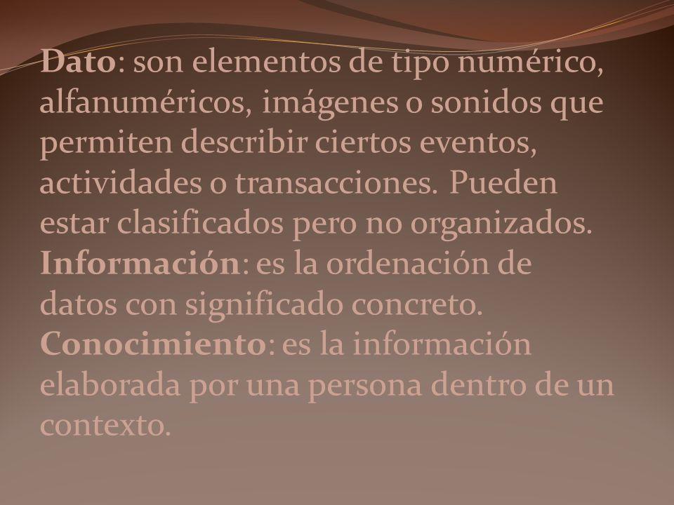 Dato: son elementos de tipo numérico, alfanuméricos, imágenes o sonidos que permiten describir ciertos eventos, actividades o transacciones.