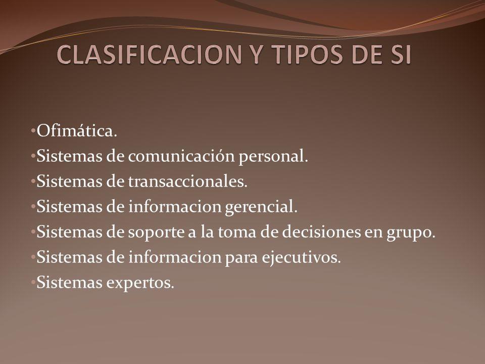 CLASIFICACION Y TIPOS DE SI