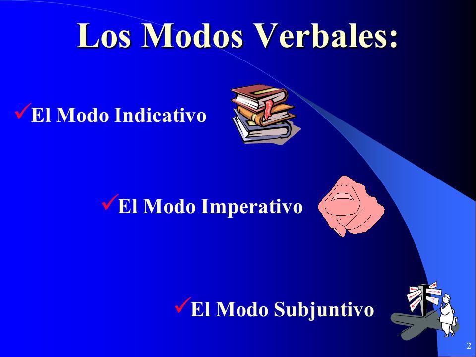 Los Modos Verbales: El Modo Indicativo El Modo Imperativo
