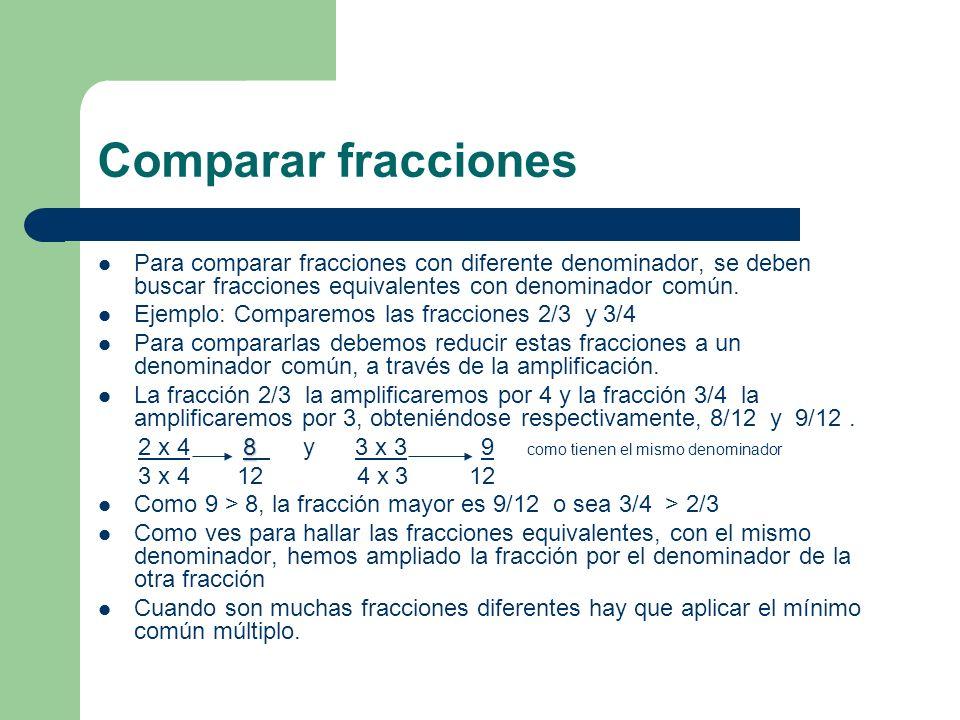 Comparar fracciones Para comparar fracciones con diferente denominador, se deben buscar fracciones equivalentes con denominador común.