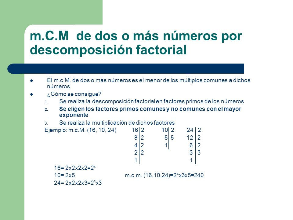 m.C.M de dos o más números por descomposición factorial