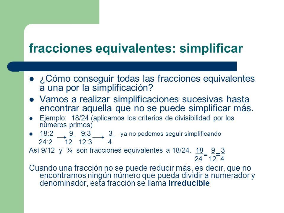 fracciones equivalentes: simplificar