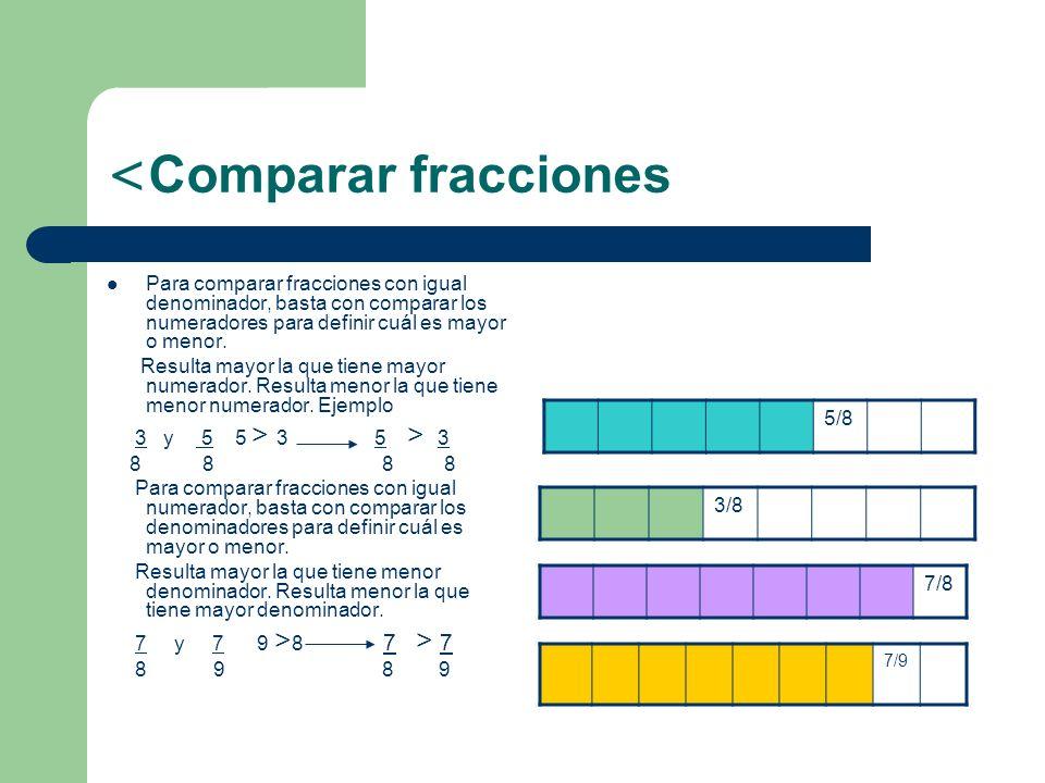 Comparar fracciones 5/8 3/8