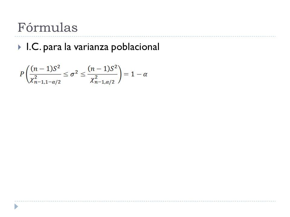 Fórmulas I.C. para la varianza poblacional