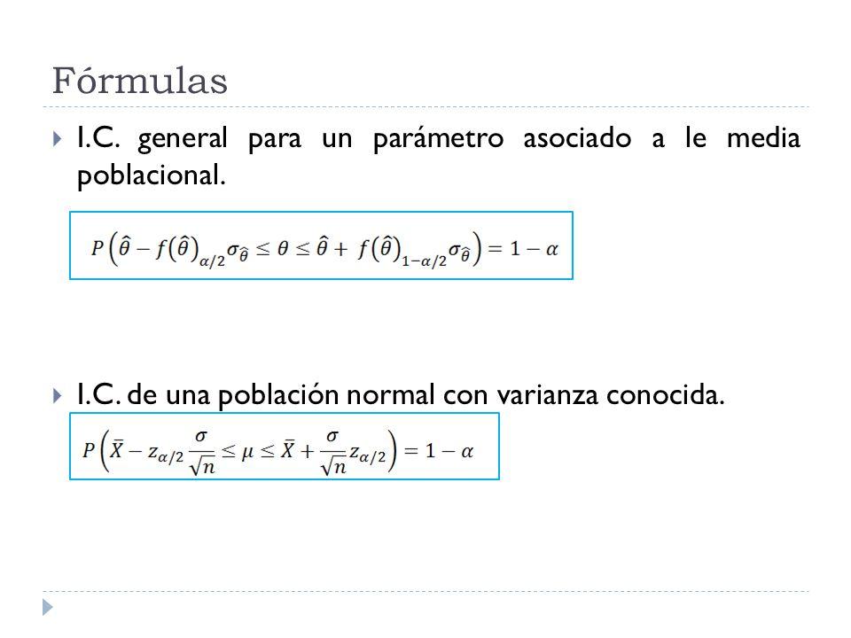 Fórmulas I.C. general para un parámetro asociado a le media poblacional.