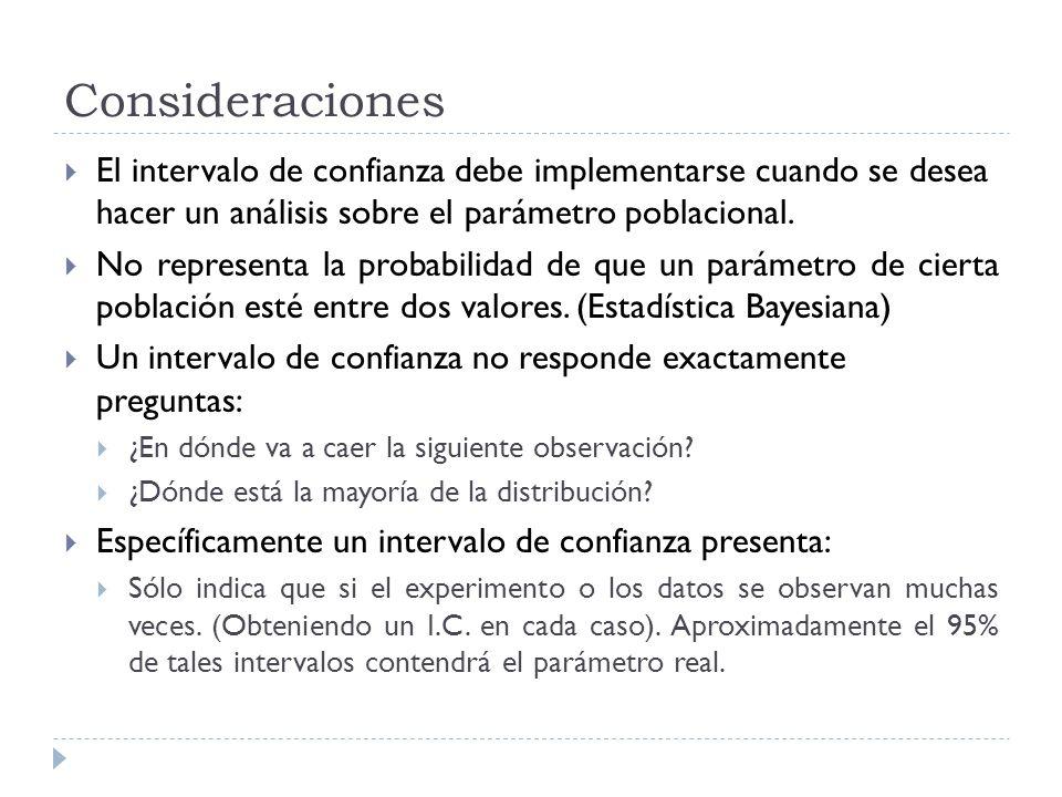 Consideraciones El intervalo de confianza debe implementarse cuando se desea hacer un análisis sobre el parámetro poblacional.