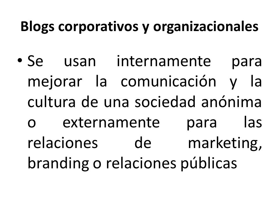 Blogs corporativos y organizacionales