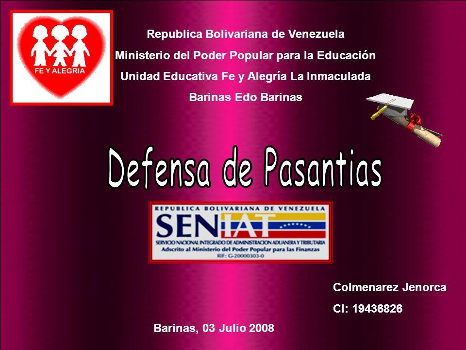 Defensa de Pasantias Republica Bolivariana de Venezuela