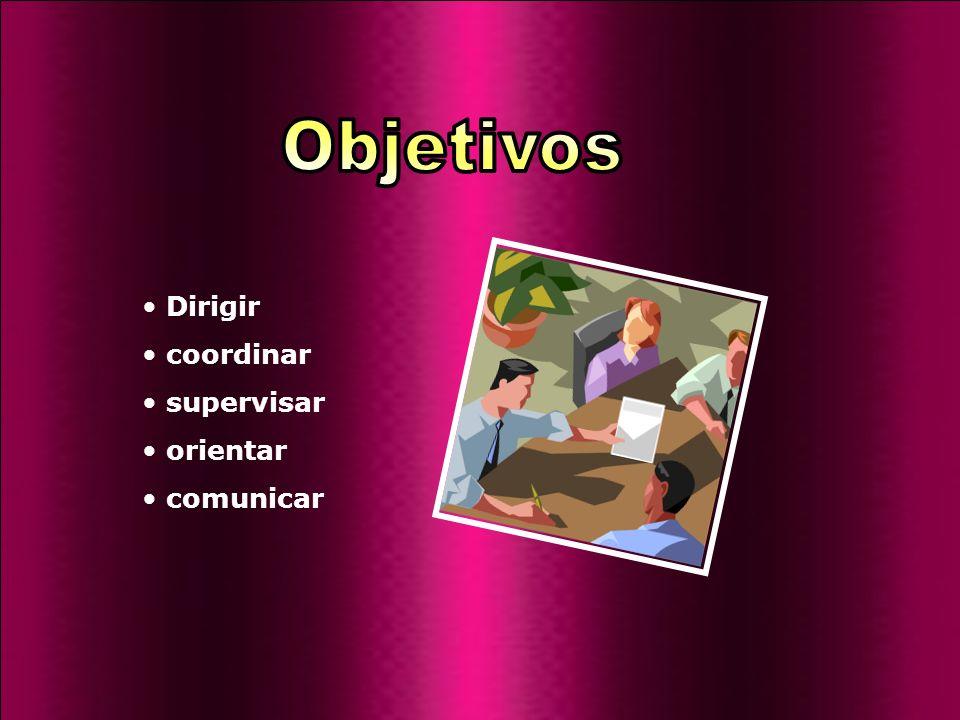 Objetivos Dirigir coordinar supervisar orientar comunicar