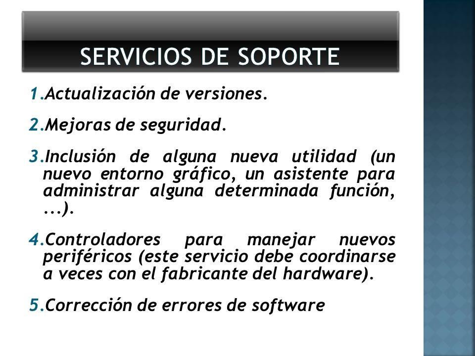 SERVICIOS DE SOPORTE Actualización de versiones. Mejoras de seguridad.