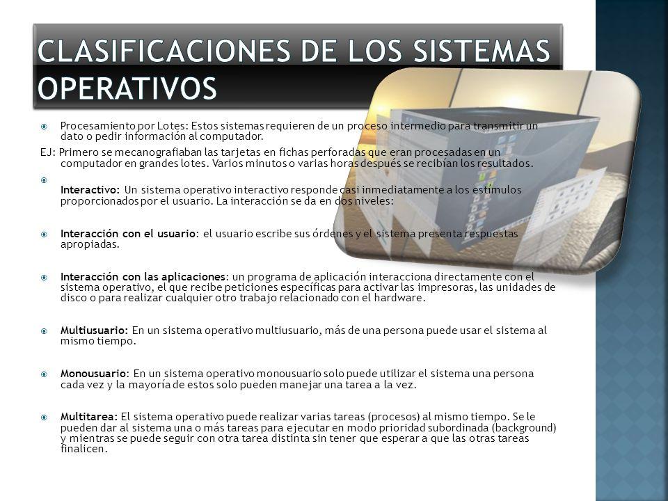 Clasificaciones de los Sistemas Operativos