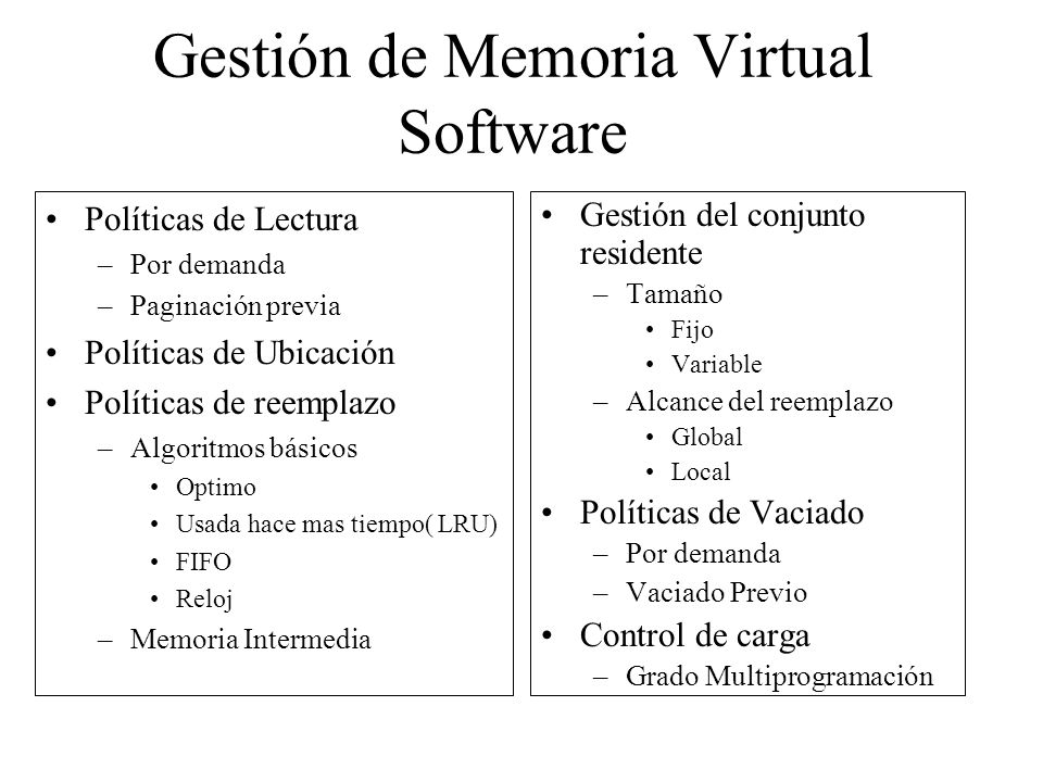 Gestión de Memoria Virtual Software