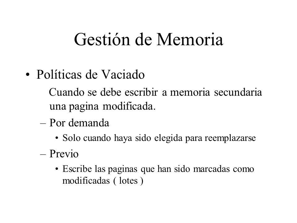 Gestión de Memoria Políticas de Vaciado