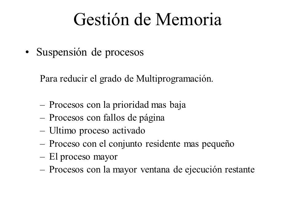 Gestión de Memoria Suspensión de procesos
