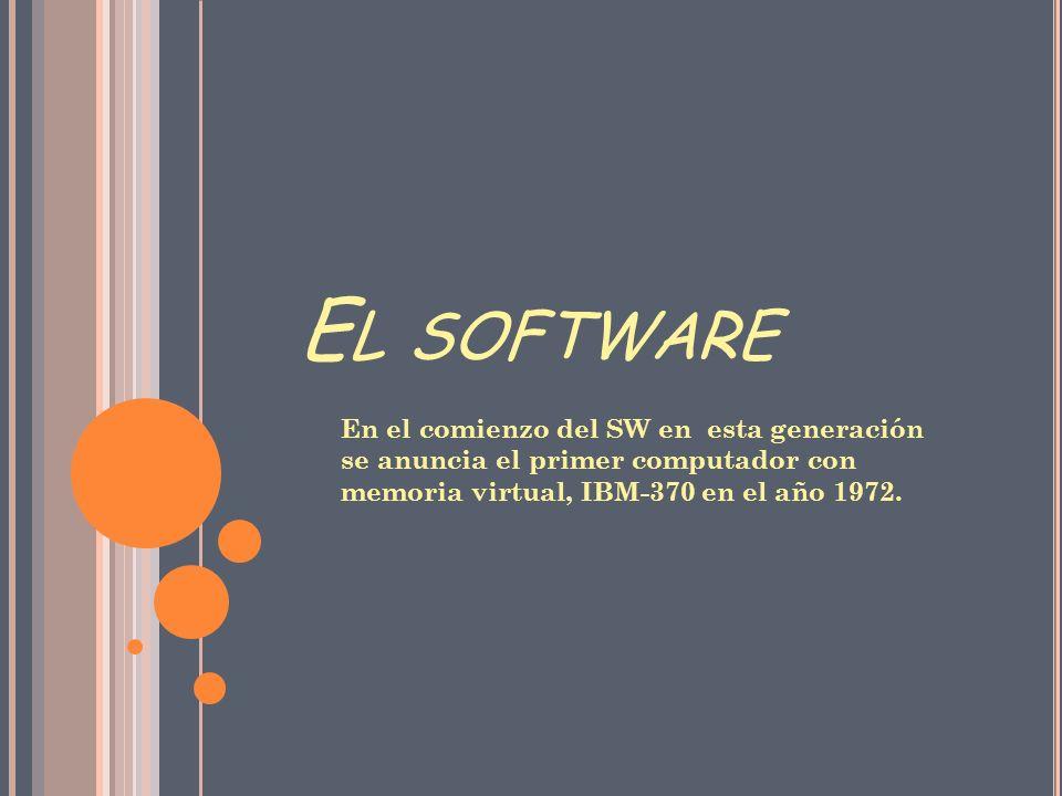 El software En el comienzo del SW en esta generación se anuncia el primer computador con memoria virtual, IBM-370 en el año 1972.