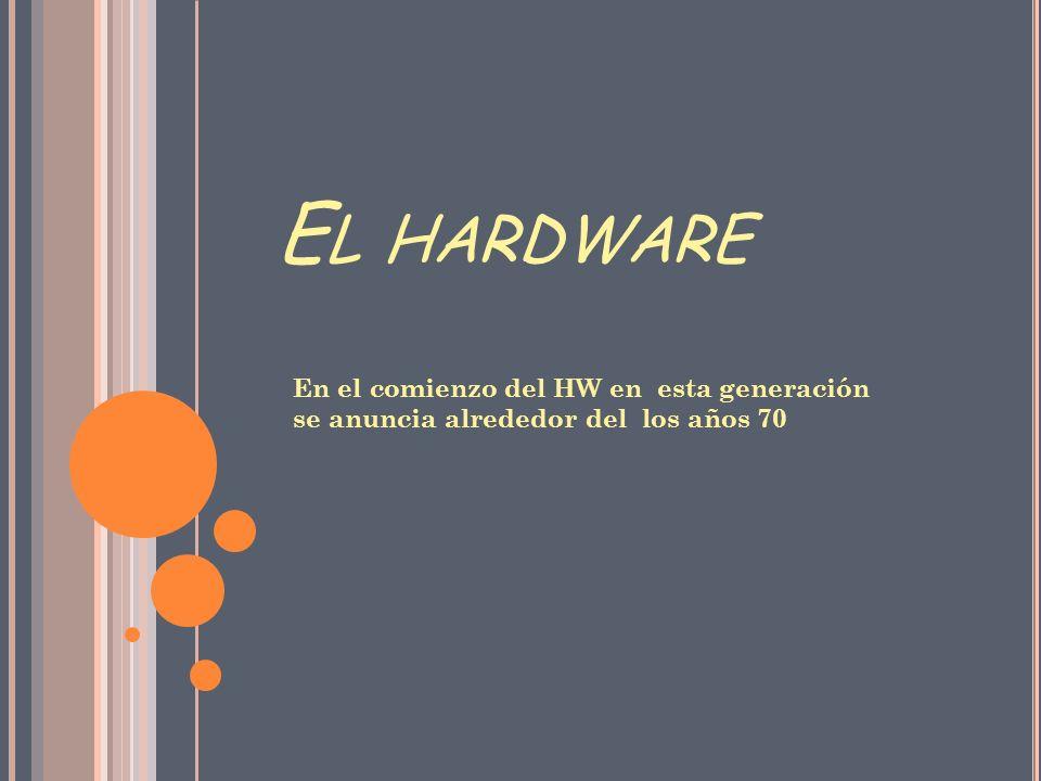 El hardware En el comienzo del HW en esta generación se anuncia alrededor del los años 70