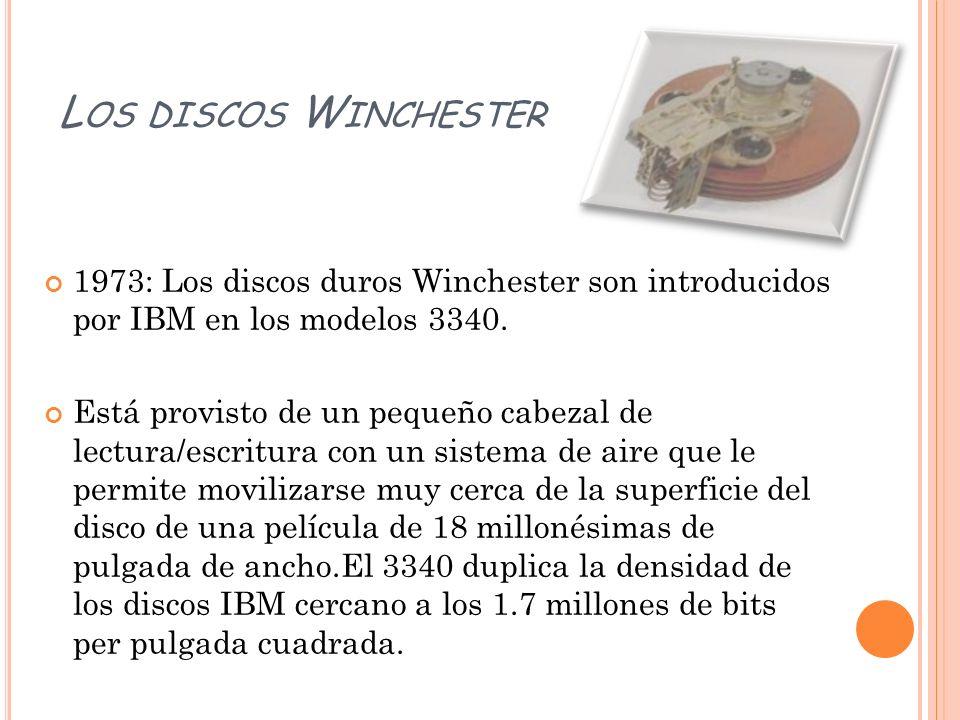 Los discos Winchester1973: Los discos duros Winchester son introducidos por IBM en los modelos 3340.