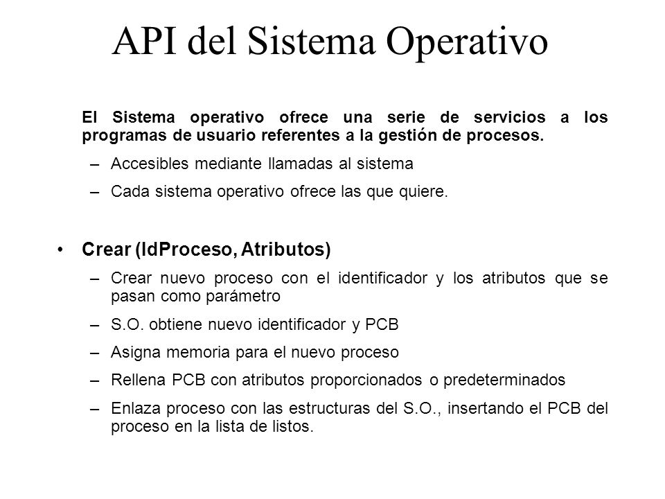 API del Sistema Operativo