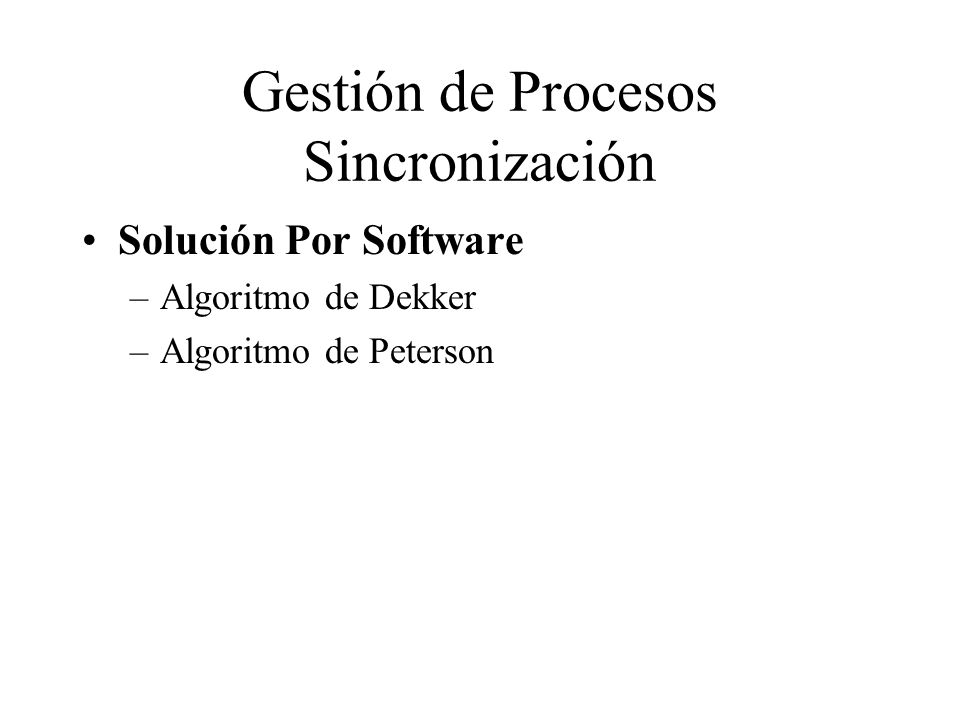 Gestión de Procesos Sincronización