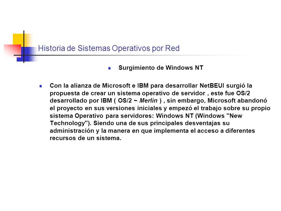 Historia de Sistemas Operativos por Red