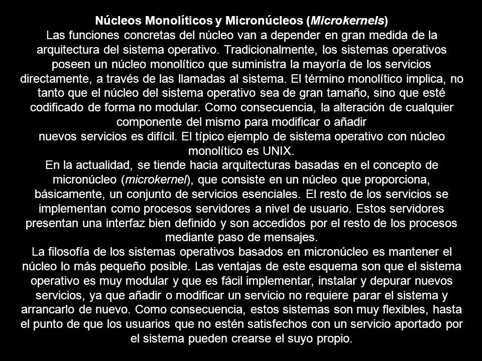 Núcleos Monolíticos y Micronúcleos (Microkernels)