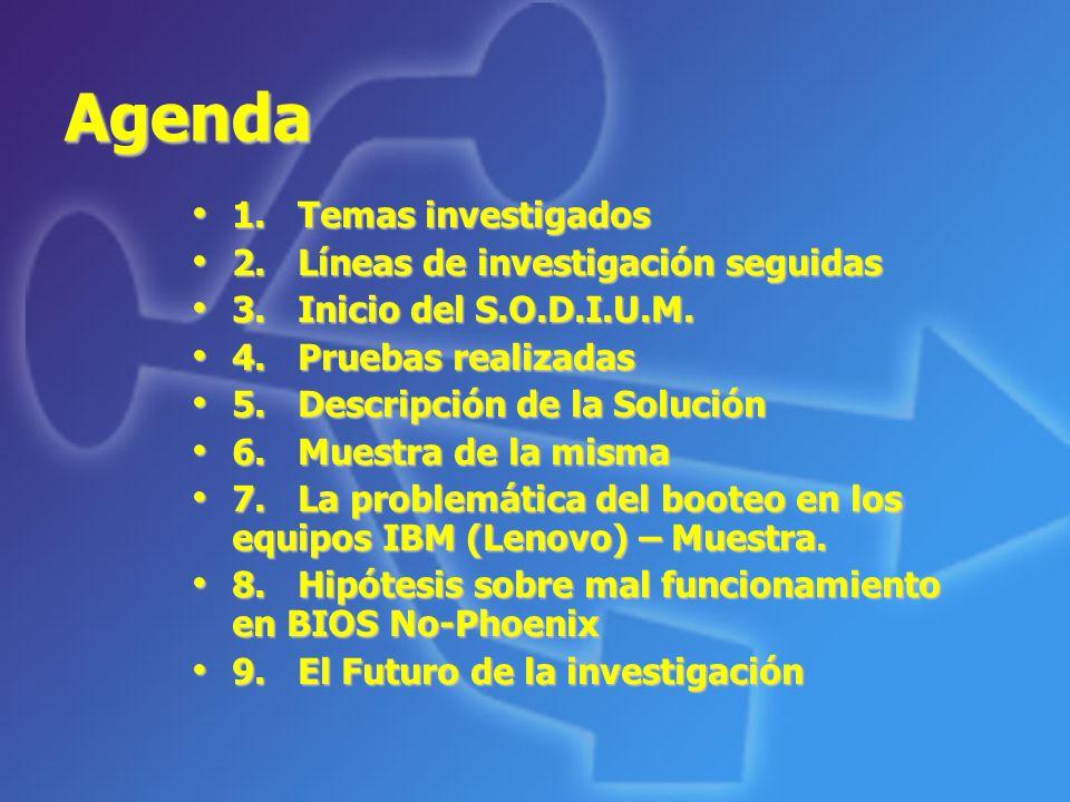 Agenda 1. Temas investigados 2. Líneas de investigación seguidas
