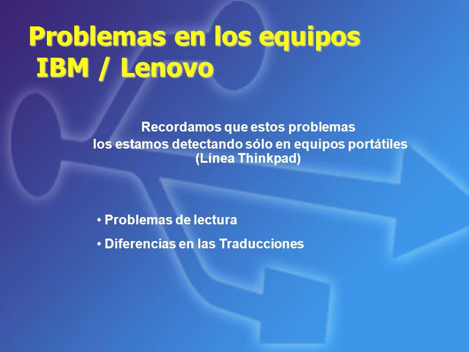 Problemas en los equipos IBM / Lenovo