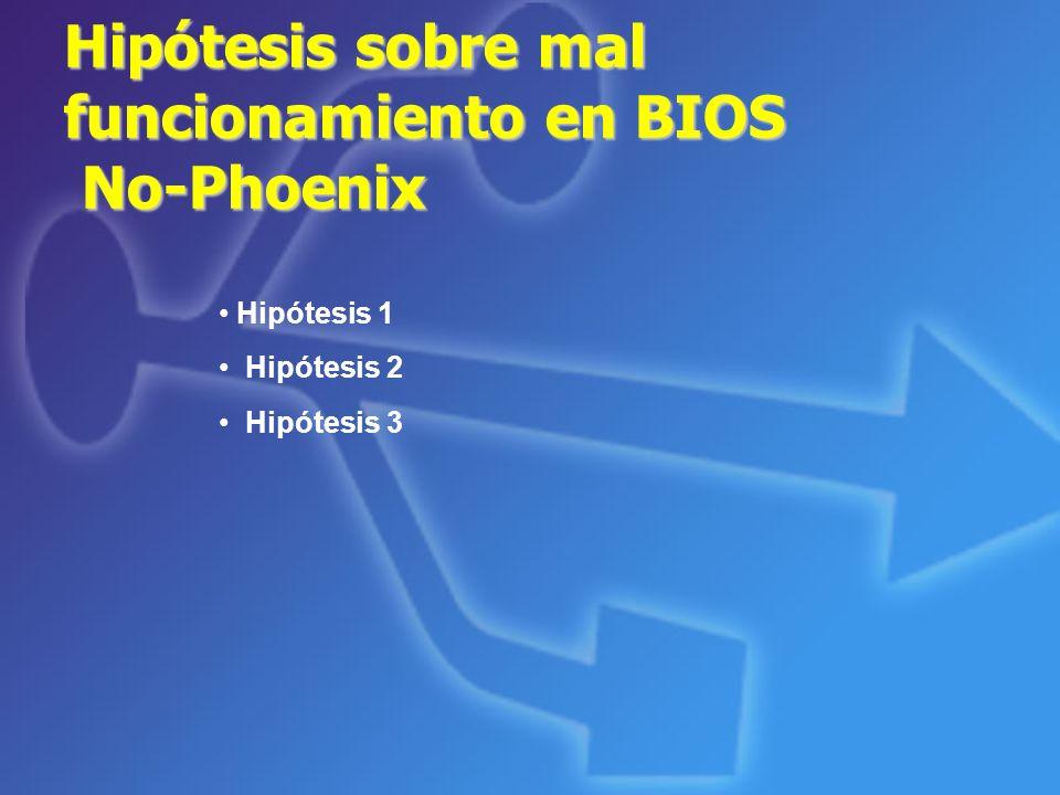 Hipótesis sobre mal funcionamiento en BIOS No-Phoenix
