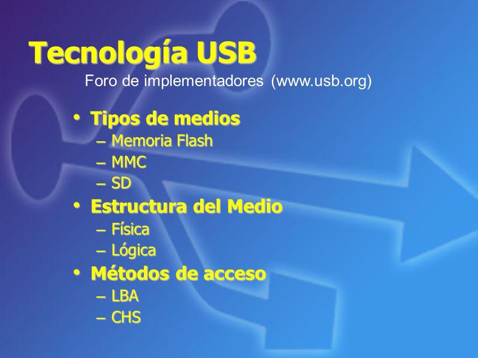 Tecnología USB Tipos de medios Estructura del Medio Métodos de acceso