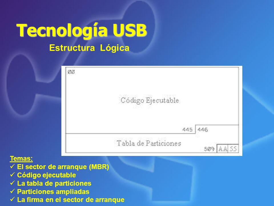 Tecnología USB Estructura Lógica Temas: El sector de arranque (MBR)