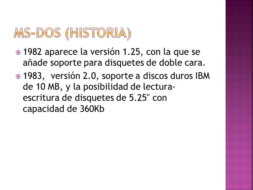 MS-DOS (Historia) 1982 aparece la versión 1.25, con la que se añade soporte para disquetes de doble cara.