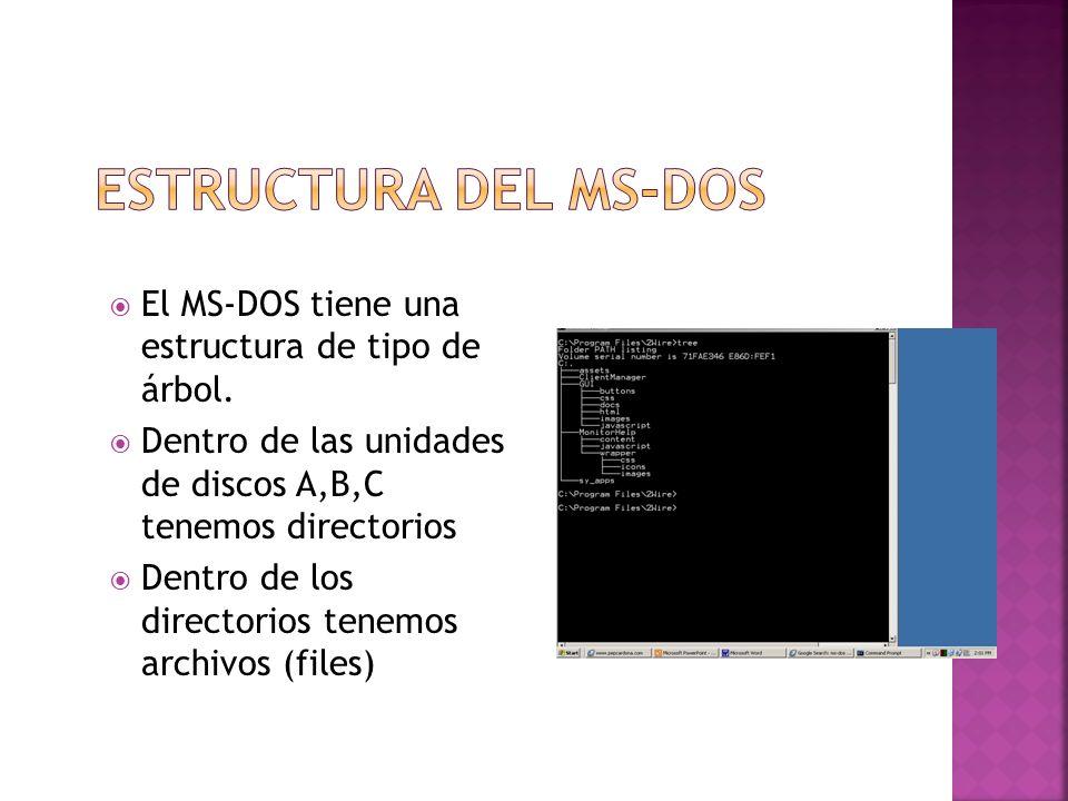 Estructura del MS-DOS El MS-DOS tiene una estructura de tipo de árbol.
