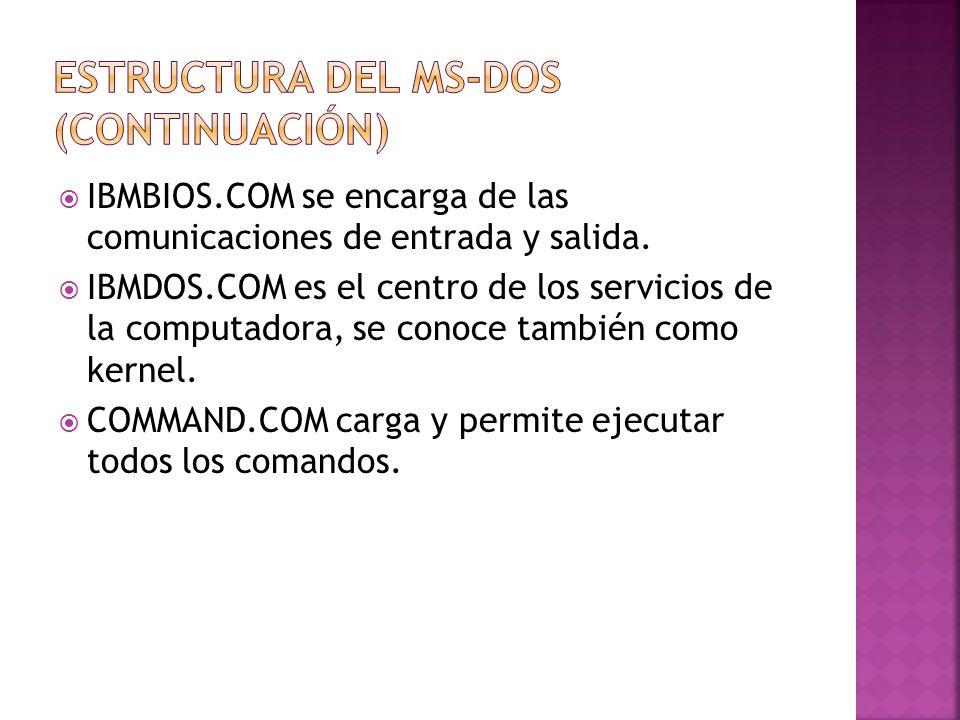 Estructura del MS-DOS (Continuación)