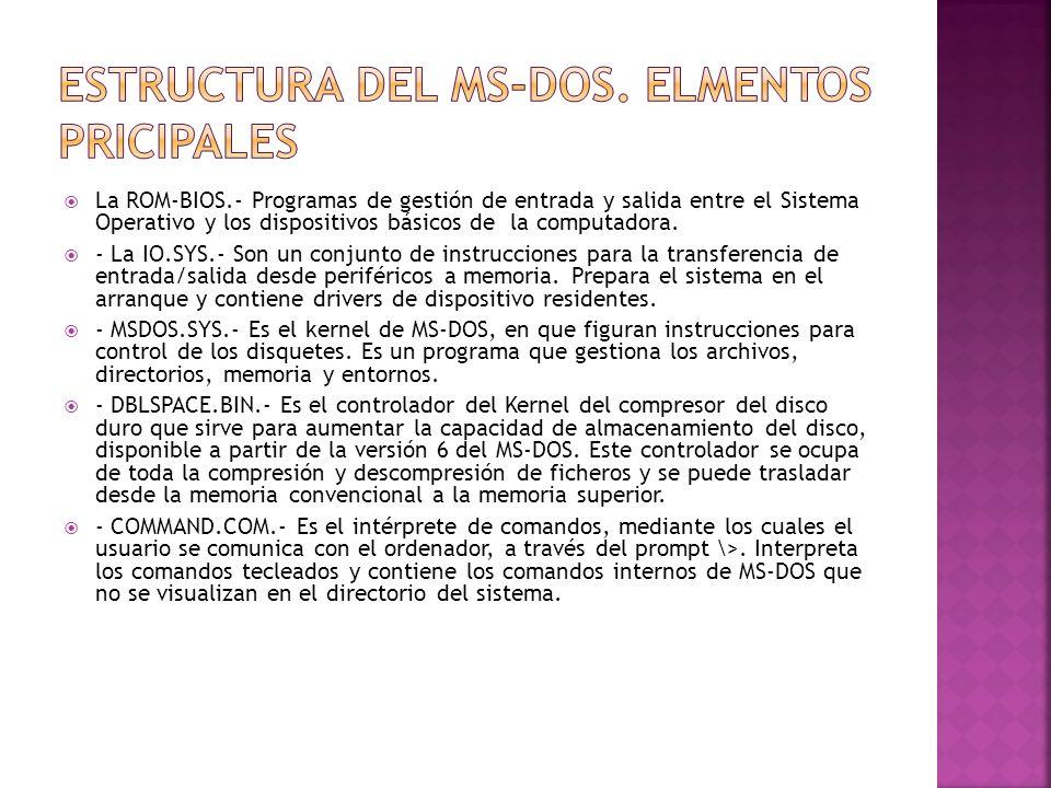 Estructura del MS-DOS. Elmentos Pricipales