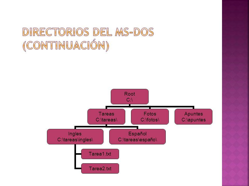 Directorios del MS-DOS (Continuación)