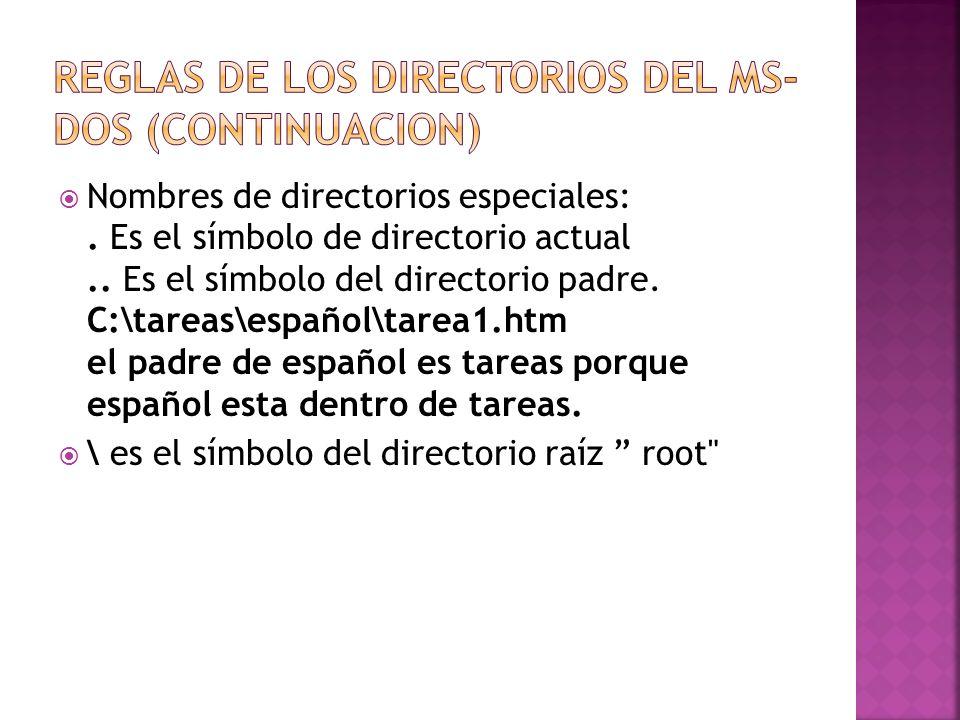 Reglas de los Directorios del MS-DOS (Continuacion)