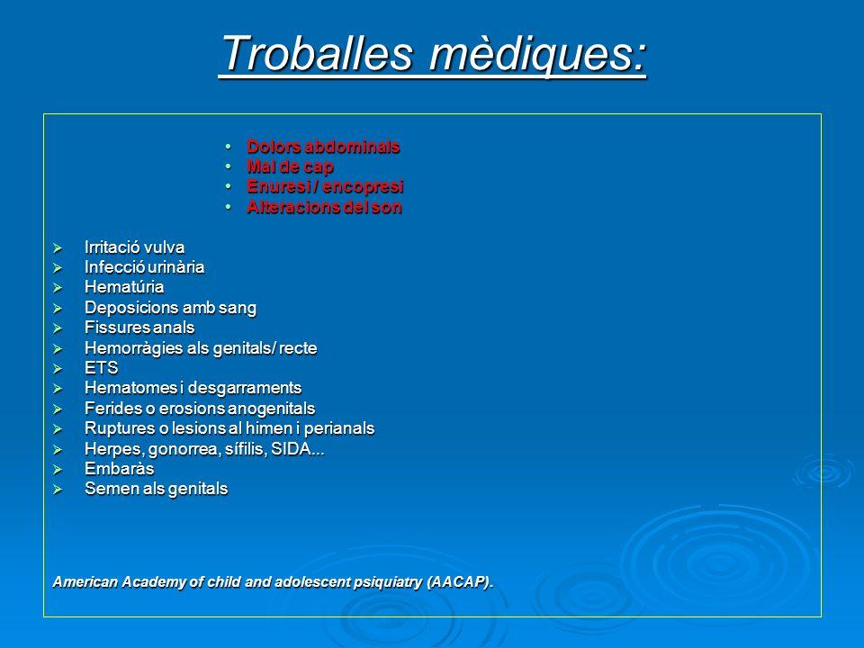 Troballes mèdiques: Dolors abdominals Mal de cap Enuresi / encopresi