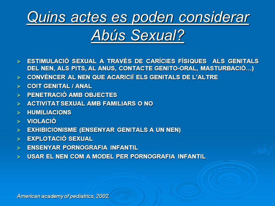 Quins actes es poden considerar Abús Sexual