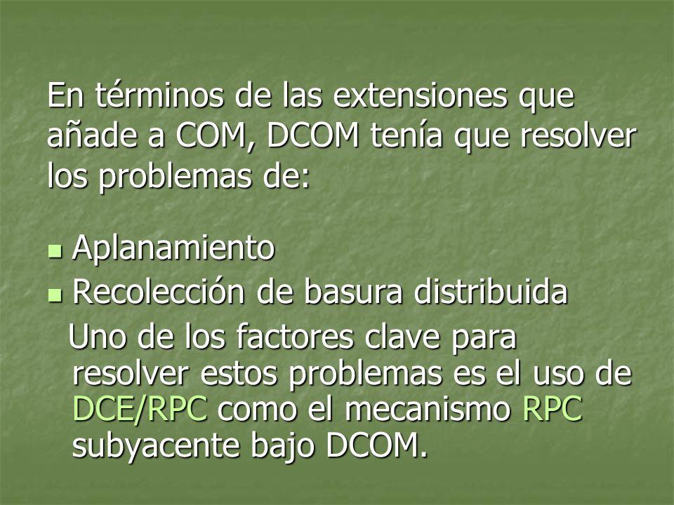 En términos de las extensiones que añade a COM, DCOM tenía que resolver los problemas de: