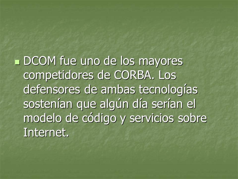 DCOM fue uno de los mayores competidores de CORBA