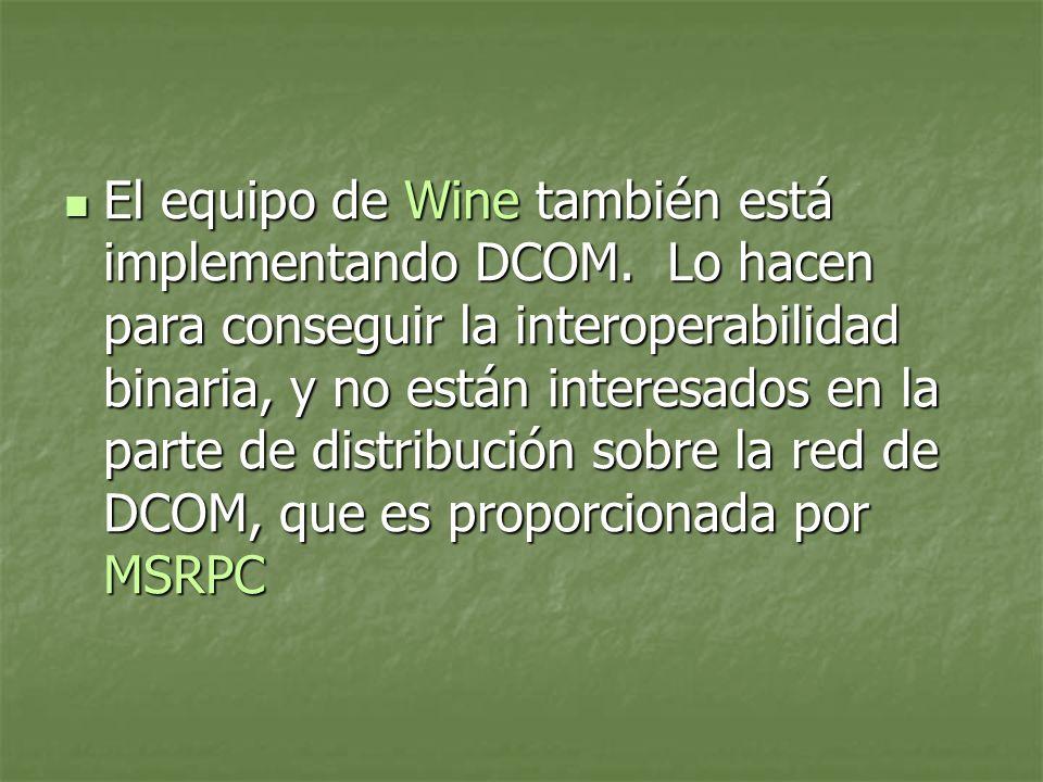 El equipo de Wine también está implementando DCOM