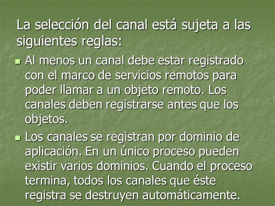 La selección del canal está sujeta a las siguientes reglas:
